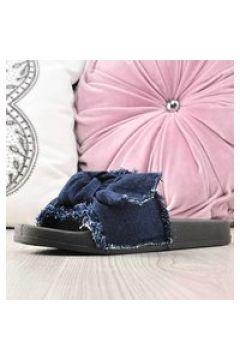 Pantofelek24.pl | Modne klapki damskie z tkaniny Granatowe(112082421)