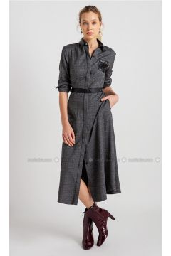 Anthracite - Point Collar - Dresses - NG Style(110341228)