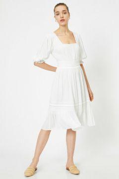 Koton Kadın Balon Kollu Kare Yaka Midi Elbise(119942701)