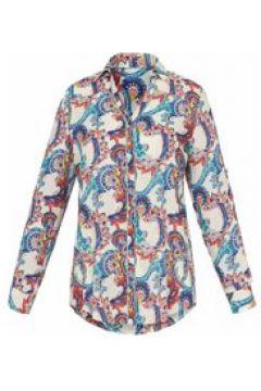 Langarmbluse Bluse zum Krempeln auf 3/4-Arm Emilia Lay weiß/multicolor(115851347)
