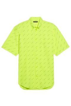 Balenciaga Erkek Allover Logo Neon Sarı Siyah Kısa Kollu Gömlek 39 IT(118642980)