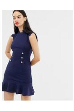 Unique21 - Kleid mit Rüschensaum und Knopfdetail - Navy(83088738)
