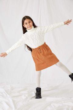 DeFacto Kız Çocuk Kadife Kumaş Kısa Etek(125929702)