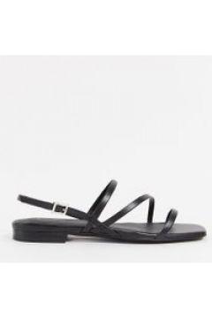 & Other Stories - Sandali bassi in pelle nera con cinturini sottili-Nero(120296183)
