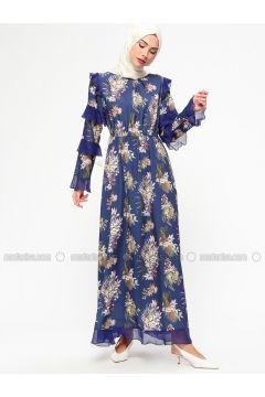 Navy Blue - Floral - Crew neck - Fully Lined - Dresses - MARKESRA(110314801)