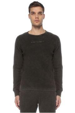 Bassigue Erkek Siyah Çizgi Dokulu Nakış Detaylı Sweatshirt S EU(125279121)