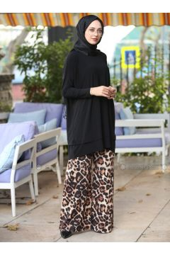 Brown - Leopard - Pants - İnşirah(110316400)