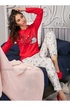 Red - Crew neck - Multi - Pyjama - Strawberry(110328444)