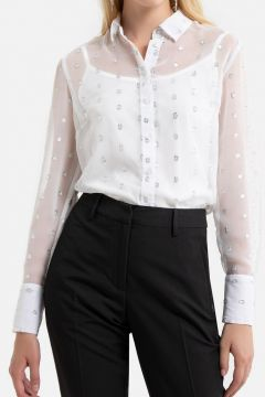 Camisa de manga larga de plumetis(121532227)