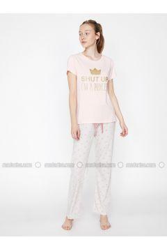Pink - Crew neck - Multi - Cotton - Pyjama - Koton(110322387)