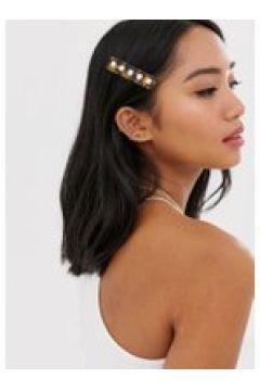Orelia - Fermaglio per capelli in resina tartarugata con perle sintetiche-Marrone(120230225)