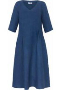 Abendkleid Kleid mit 3/4-Arm aus 100% Leinen Anna Aura meerblau(121557065)