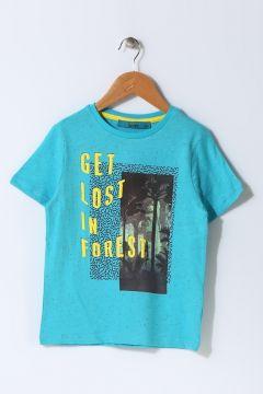 Funky Rocks Erkek Çocuk Yazı Baskılı Turkuaz T-Shirt(113956840)