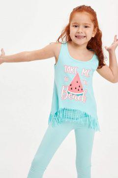 DeFacto Kız Çocuk Baskılı Püskül Detaylı Atlet(119060251)