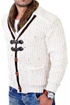 Pull Monsieurmode Gilet à maille pour homme Veste 418 blanc(115398302)