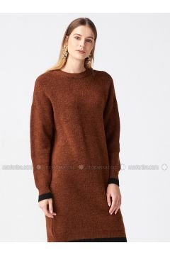 Black - Brown - Crew neck - Unlined -- Dresses - Dilvin(110327585)
