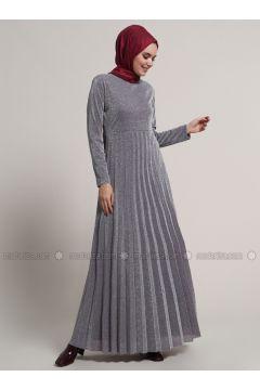 Plum - Fully Lined - Crew neck - Muslim Evening Dress - Refka(110316806)