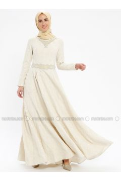 Beige - Fully Lined - Crew neck - Muslim Evening Dress - Pia(110335748)