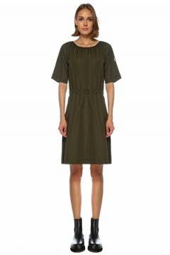 Moncler Kadın Haki Logolu Büzgü Detaylı Mini Elbise Yeşil S EU(122296623)