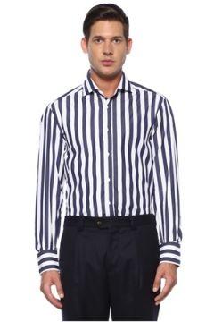 Brunello Cucinelli Erkek Lacivert Beyaz Modern Yaka Çizgili Gömlek L EU(119423179)