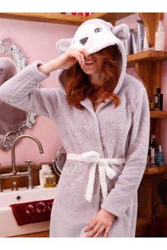 Gray - Cotton - Morning Robe - Siyah inci(110331115)
