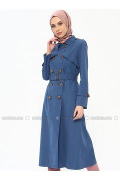 Blue - Unlined - Point Collar - Topcoat - Butik Neşe(110335619)