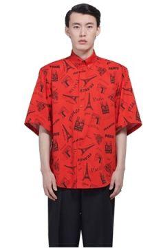 Balenciaga Erkek Kırmızı Karışık Baskılı Düğmeli Yaka Gömlek 38 IT(113464379)