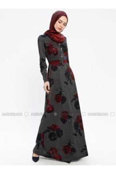 Maroon - Multi - V neck Collar - Fully Lined - Dresses - MissGlamour(110320698)