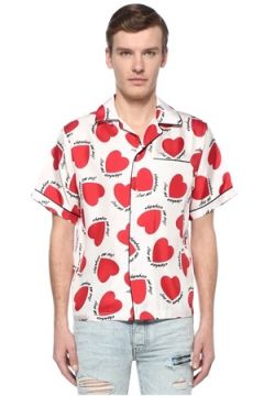Amiri Erkek Beyaz Kırmızı Kamp Yaka Baskılı Biyeli İpek Gömlek S EU(108516023)