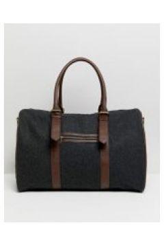 ASOS DESIGN - Reisetasche aus Melton mit Besatz aus Kunstleder - Grau(95028811)