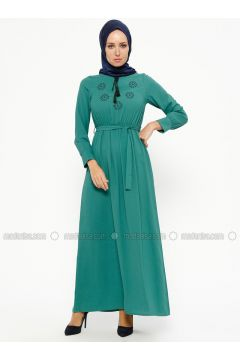 Green - V neck Collar - Unlined - Dresses - SUEM(110315280)