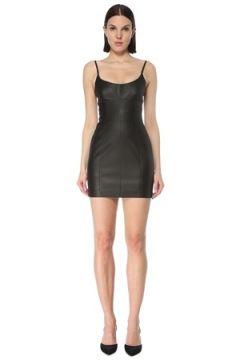 Alexander Wang Kadın Siyah U Yaka Askılı Mini Deri Elbise 0 US(127752571)