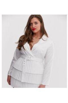 In The Style Plus x Dani Dyer - Vestito stile blazer bianco con scollo profondo e gonna a pieghe(120332888)