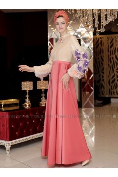 Orange - Fully Lined - Crew neck - Muslim Evening Dress - Selma Sarı Design(110332909)