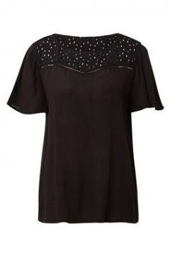 TOM TAILOR Damen Crêpe-Bluse mit Lochmuster, schwarz, unifarben, Gr.36(108175431)