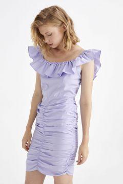 Kadın Fırfır Detaylı Drapeli Poplin Elbise(126604038)