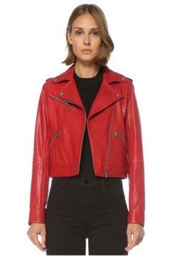 Academia Kadın Kırmızı Cep Detaylı Deri Ceket 42(121734117)