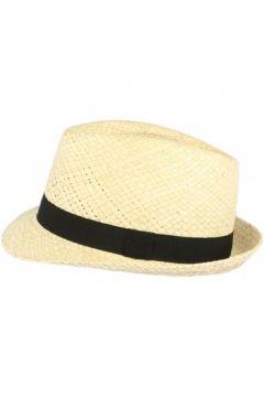Chapeau Léon Montane Chapeau trilby de paille beige clair ceinture noire(88530702)