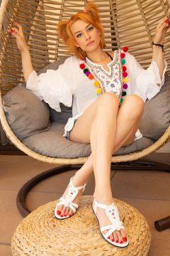 Ayakkabı Modası Beyaz Kadın Sandalet(121630770)