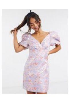 Forever New - Vestito corto in jacquard strutturato a fiori tenui con maniche a sbuffo-Multicolore(120328975)