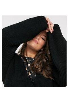 In The Style Plus x Lorna Luxe - Copenhagen - Cardigan doppiopetto in maglia nero(122789487)