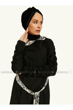 Black - Tan - Round Collar - Tunic - MAKBUSH(110317429)