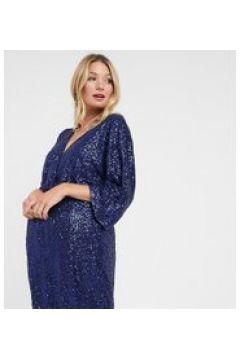 Club L London - Vestito corto premaman con nodo sul davanti e maniche a kimono in paillettes blu navy(121794321)