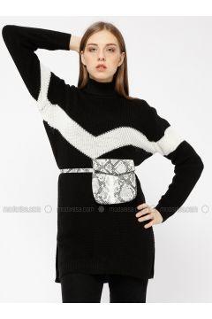 Black - Crew neck - Acrylic -- Tunic - Meliana(110331021)
