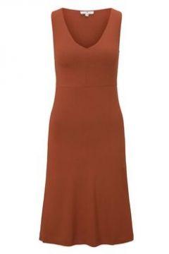 TOM TAILOR Damen Gemustertes Kleid mit V-Ausschnitt, orange, Gr.36(114618161)
