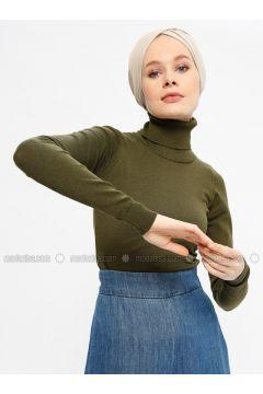 Khaki - Polo neck - Viscose -- Jumper - Seyhan Fashion(110337667)