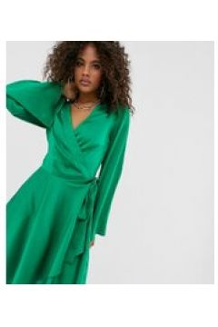 Missguided Tall - Vestitino verde a portafoglio in raso(120324785)