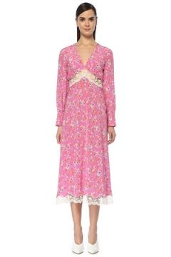 Miu Kadın Pembe V Yaka Çiçekli Dantelli Midi İpek Elbise 38 IT(108873697)