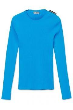 Balenciaga Kadın Turkuaz Logolu Basic Kazak Mavi S EU(113464654)