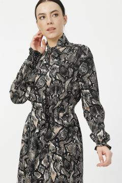 Ekol Siyah Desenli Elbise(126231101)